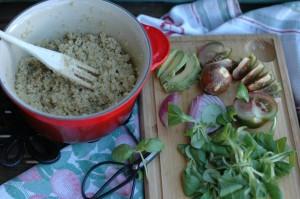 Quinoa cocida para ensalada.