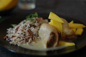Pollo con mango y arroz.