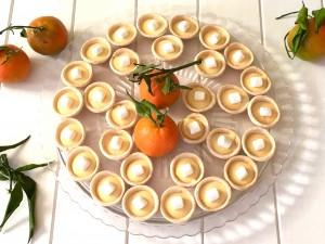Mini tartaletas de Mandarina , Chocolate blanco y Nubes