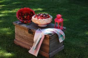 Merengue, nata y fresas