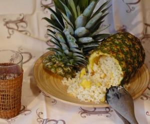 Arroz con piña, jengibre y coco