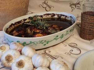 Polloa asado con salsa caribeña