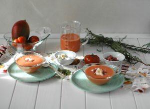 Gazpacho de tomate y mango