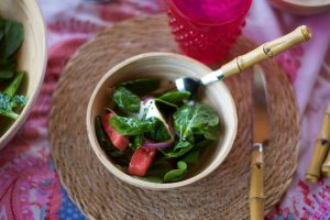 Ensalada de sandía y espinacas