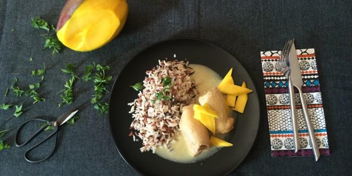 Contramuslos de pollo con salsa de mango.
